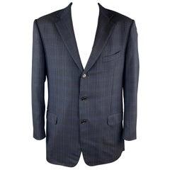ERMENEGILDO ZEGNA Size 48 Long Navy Plaid Wool Notch Lapel Long Sport Coat