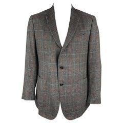 ERMENEGILDO ZEGNA Size 48 Regular Charcoal & Brown Woven Cashmere Blend Jacket