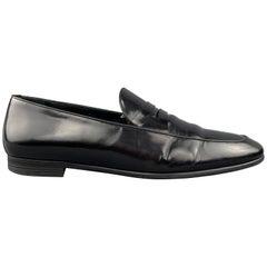 ERMENEGILDO ZEGNA Size 9.5 Black Patent Leather Slip On Loafers