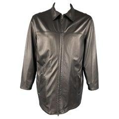 ERMENEGILDO ZEGNA Size L Black Leather & Nylon Reversible Zip Coat