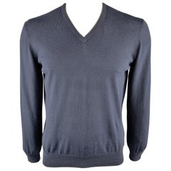 ERMENEGILDO ZEGNA Size L Navy Cotton V-Neck Pullover Sweater