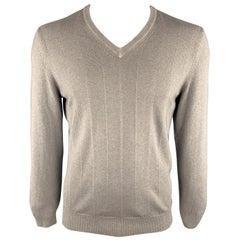 ERMENEGILDO ZEGNA Size L Taupe Cashmere / Silk V-Neck Pullover Sweater