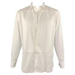 ERMENEGILDO ZEGNA Size L White Cotton French Cuffs Tuxedo Long Sleeve Shirt
