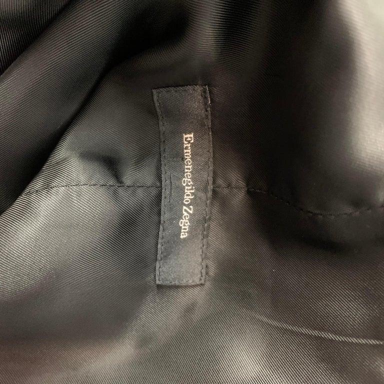 ERMENEGILDO ZEGNA Size M Black & White Dot Print Silk Buttoned Vest For Sale 1