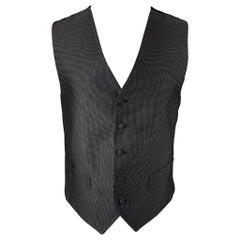 ERMENEGILDO ZEGNA Size M Black & White Dot Print Silk Buttoned Vest