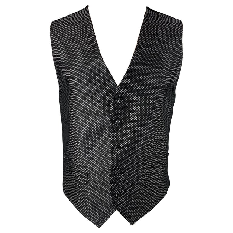 ERMENEGILDO ZEGNA Size M Black & White Dot Print Silk Buttoned Vest For Sale