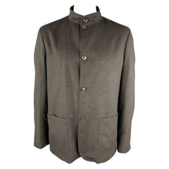 ERMENEGILDO ZEGNA Size XXL Charcoal Wool Nehru Collar Patch Pockets Jacket