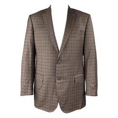 ERMENEGILDO ZEGNA Trofeo Light Size XXL Brown & Blue Checkered Wool Sport Coat