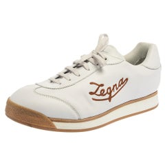 Ermenegildo Zegna White Leather Marcello Signature Sneakers Size 46