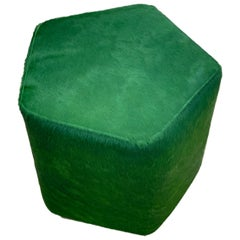 Ermes Pentagon Pouf Green Cowhide and Antique Brass Plinth