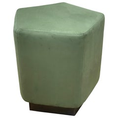 Ermes Pentagon Pouf Green Ultra Suede and Antique Brass Plinth