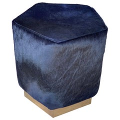 Ermes Pentagon Pouf Ink Cowhide and Antique Brass Plinth