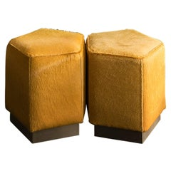 Ermes Pentagon Pouf Mustard Cowhide and Antique Brass Plinth
