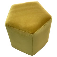 Ermes Pentagon Pouf Mustard Velvet and Antique Brass Plinth