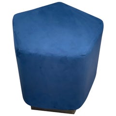 Ermes Pentagon Pouf Navy Ultrasuede and Antique Brass Plinth