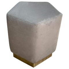 Ermes Pentagon Pouf Trench Ultrasuede and Antique Brass Plinth