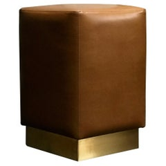 Ermes Pouf Pentagon Shape in Ultra-Leather in Tan Color and Brass Plinth