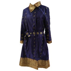 Ermetique blue and gold trench coat