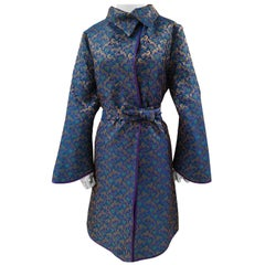 Ermetique blue gold kimono trench