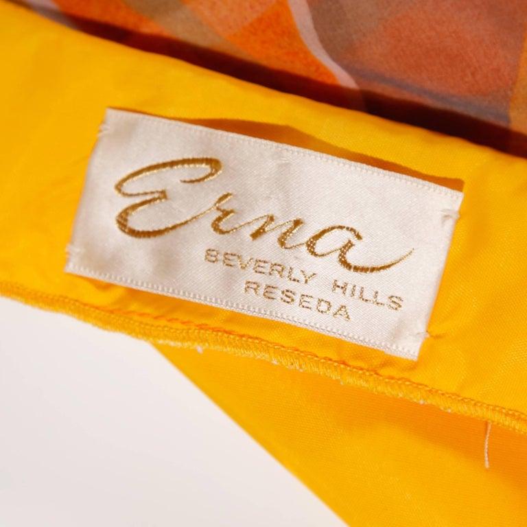 Erna Beverly Hills Vintage Orange Op Art Print Caftan Maxi Dress, 1970s  In Excellent Condition For Sale In Sparks, NV