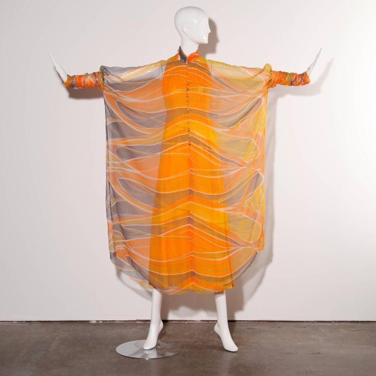 Women's Erna Beverly Hills Vintage Orange Op Art Print Caftan Maxi Dress, 1970s  For Sale