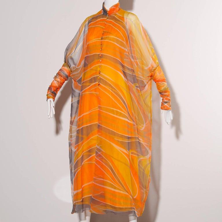Erna Beverly Hills Vintage Orange Op Art Print Caftan Maxi Dress, 1970s  For Sale 1