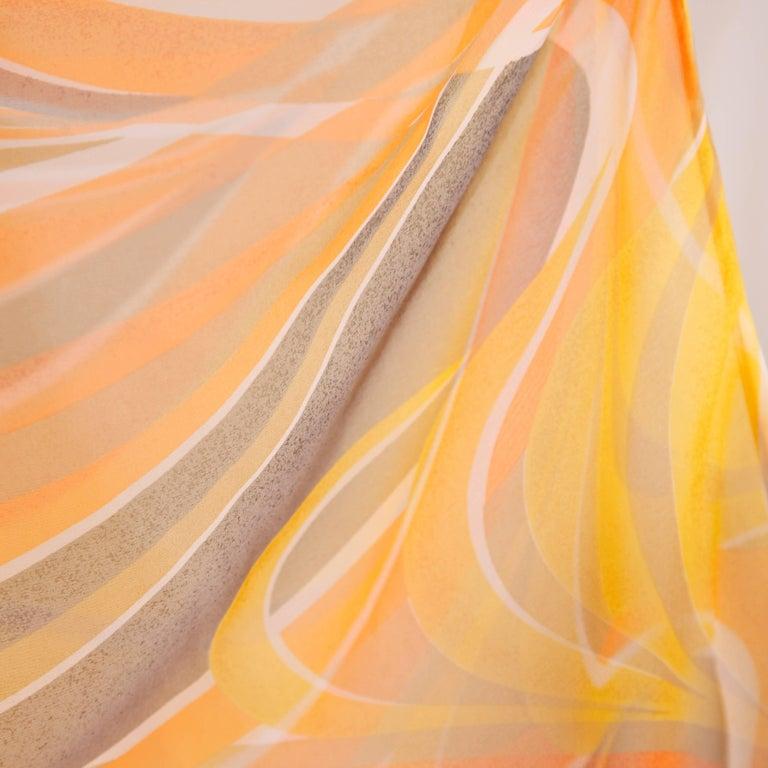 Erna Beverly Hills Vintage Orange Op Art Print Caftan Maxi Dress, 1970s  For Sale 2