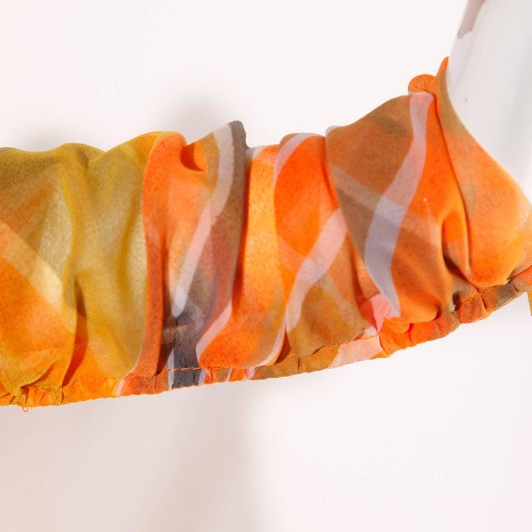 Erna Beverly Hills Vintage Orange Op Art Print Caftan Maxi Dress, 1970s  For Sale 3
