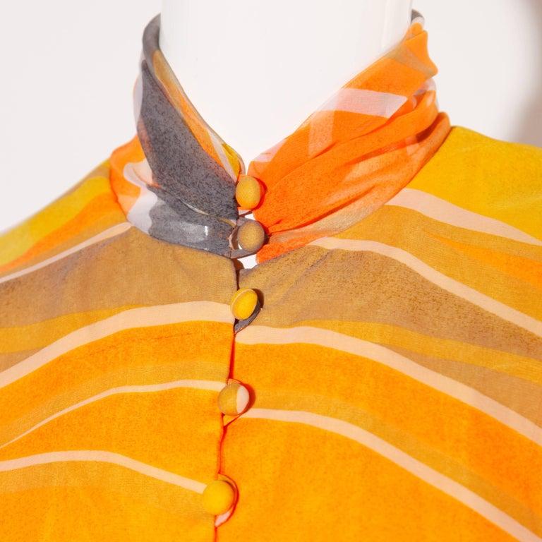 Erna Beverly Hills Vintage Orange Op Art Print Caftan Maxi Dress, 1970s  For Sale 4