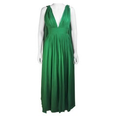 Erna Circa 1960s Green Pleated Silk Chiffon Gown