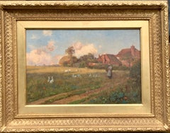 English 19th century Cottage landscape with lady feeding ducks and wild poppies