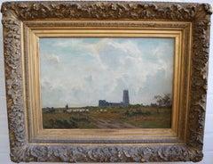 Sir Ernest Albert Waterlow, Walberswick church by the sea, Victorian oil