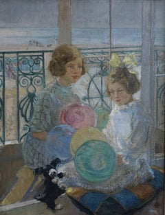 Seaside Portrait - Art Deco childhood oil painting young girls playing