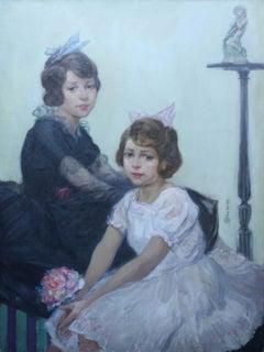 Young Sisters - British 1920's Art Deco children's portrait oil painting