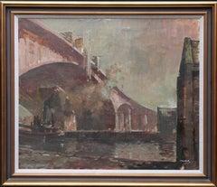 The Bridge - Scottish 20thC art oil painting Industrial river landscape Glasgow