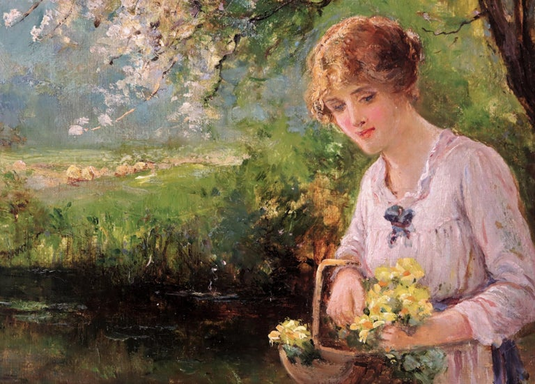 English Ernest Charles Walbourn Dalston, a Young Woman Picking Spring Flowers For Sale