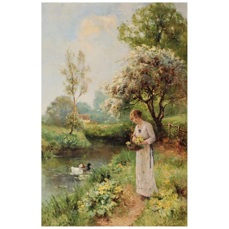 Ernest Charles Walbourn Dalston, a Young Woman Picking Spring Flowers For Sale
