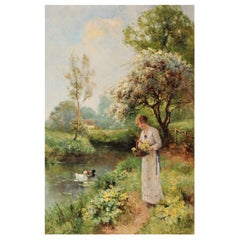 Ernest Charles Walbourn Dalston, a Young Woman Picking Spring Flowers