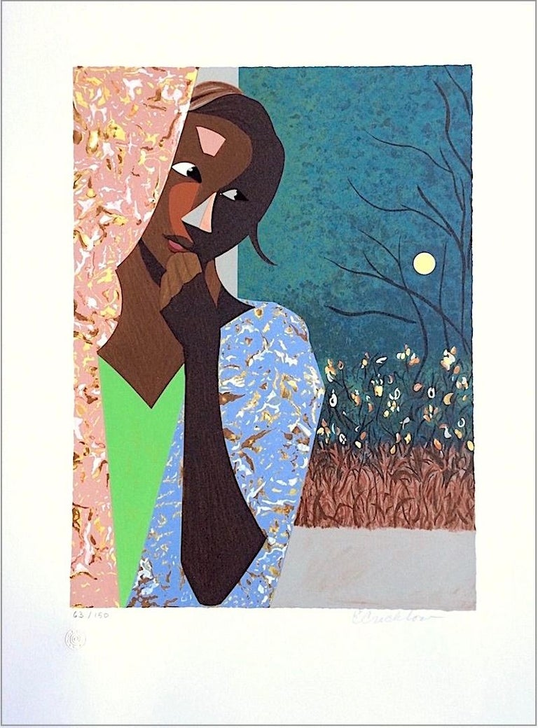 EVENING THOUGHTS Signed Lithograph, Young Black Female Portrait, Color Collage - Print by Ernest Crichlow