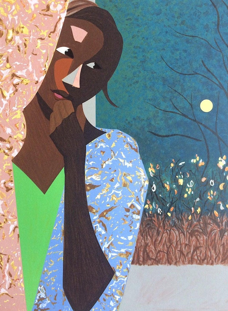 EVENING THOUGHTS Signed Lithograph, Young Black Female Portrait, Color Collage - Contemporary Print by Ernest Crichlow