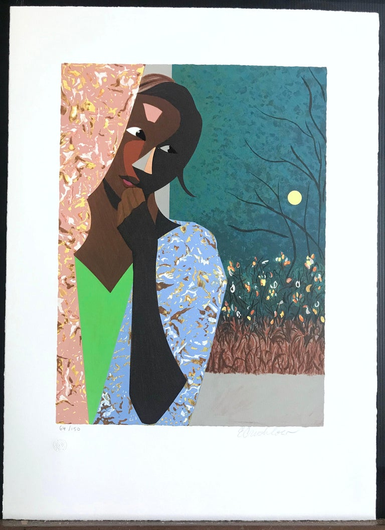 EVENING THOUGHTS Signed Lithograph, Young Black Female Portrait, Color Collage For Sale 2