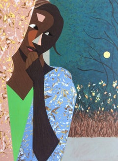 EVENING THOUGHTS Signed Lithograph, Young Black Female Portrait, Color Collage