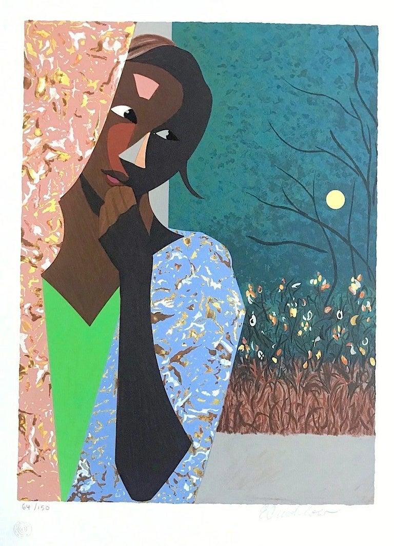 Ernest Crichlow Portrait Print - EVENING THOUGHTS Signed Lithograph, Young Black Female Portrait, Color Collage