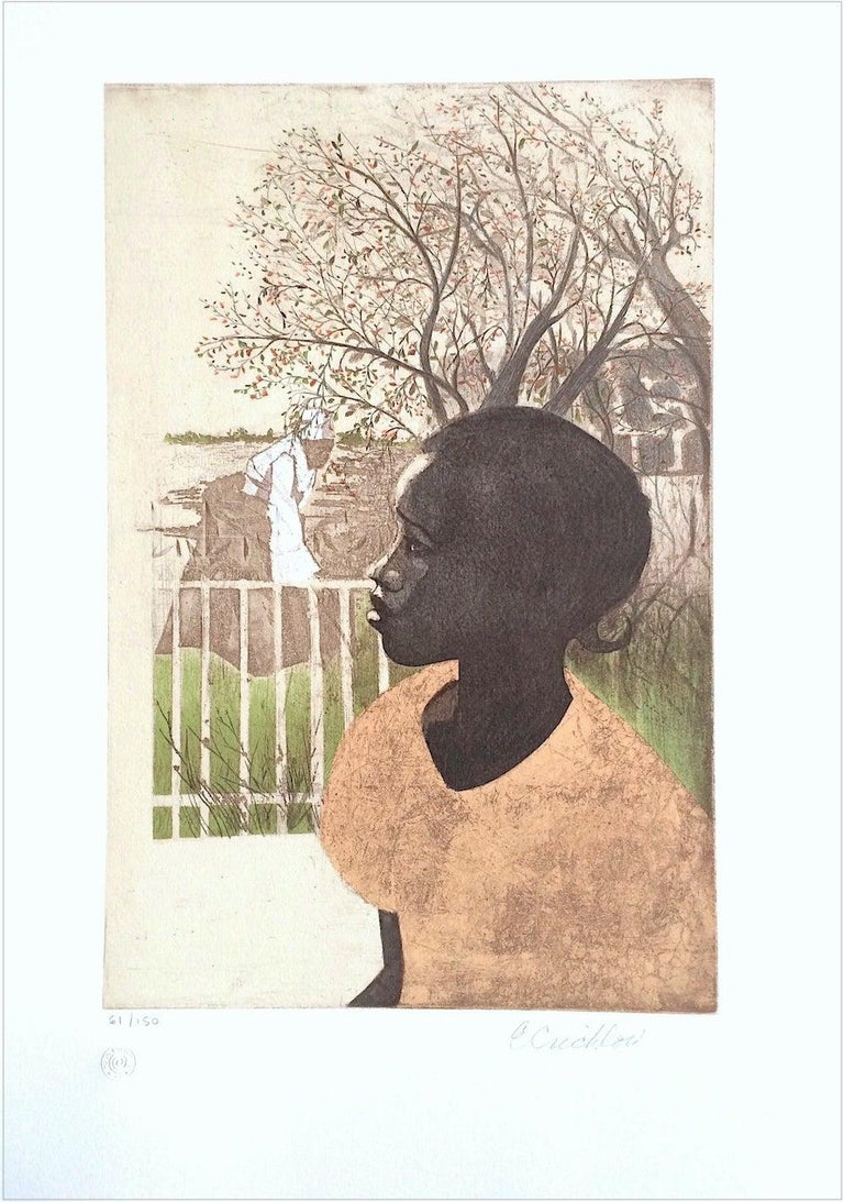 NEW DREAMS Signed Lithograph, Black History, African American Women - Beige Figurative Print by Ernest Crichlow