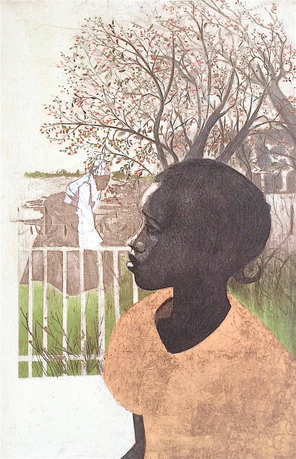 NEW DREAMS Signed Lithograph Young Black Girl Portrait, African American History