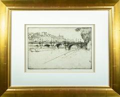 'Pont Neuf – Paris' original etching signed by Ernest D. Roth, bridge Seine