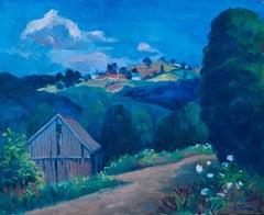 Farm Landscape Painting by Ernest Fiene circa 1950