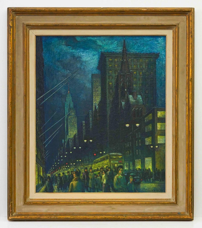 Winter Evening Fifth Avenue - New York at Night - Painting by Ernest Fiene