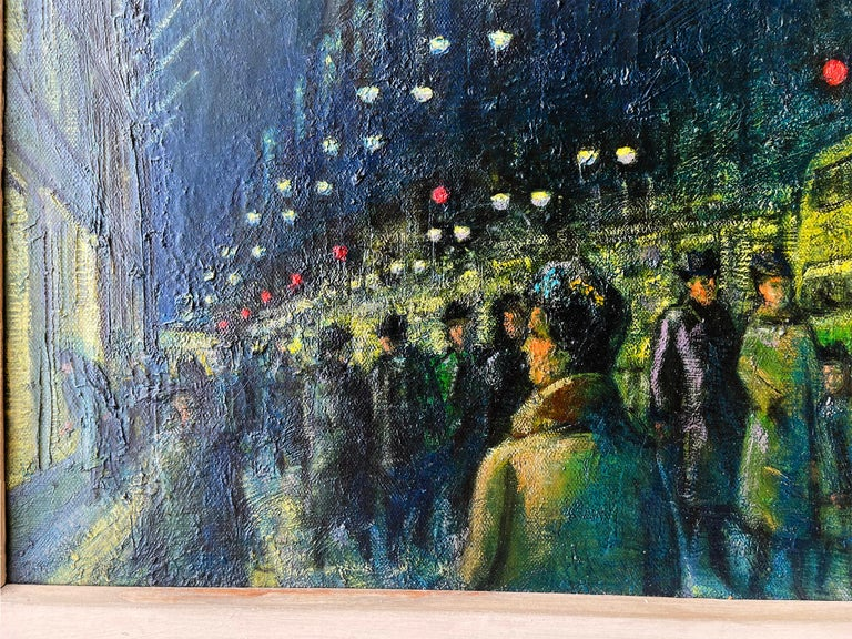 Winter Evening Fifth Avenue - New York at Night - Black Figurative Painting by Ernest Fiene