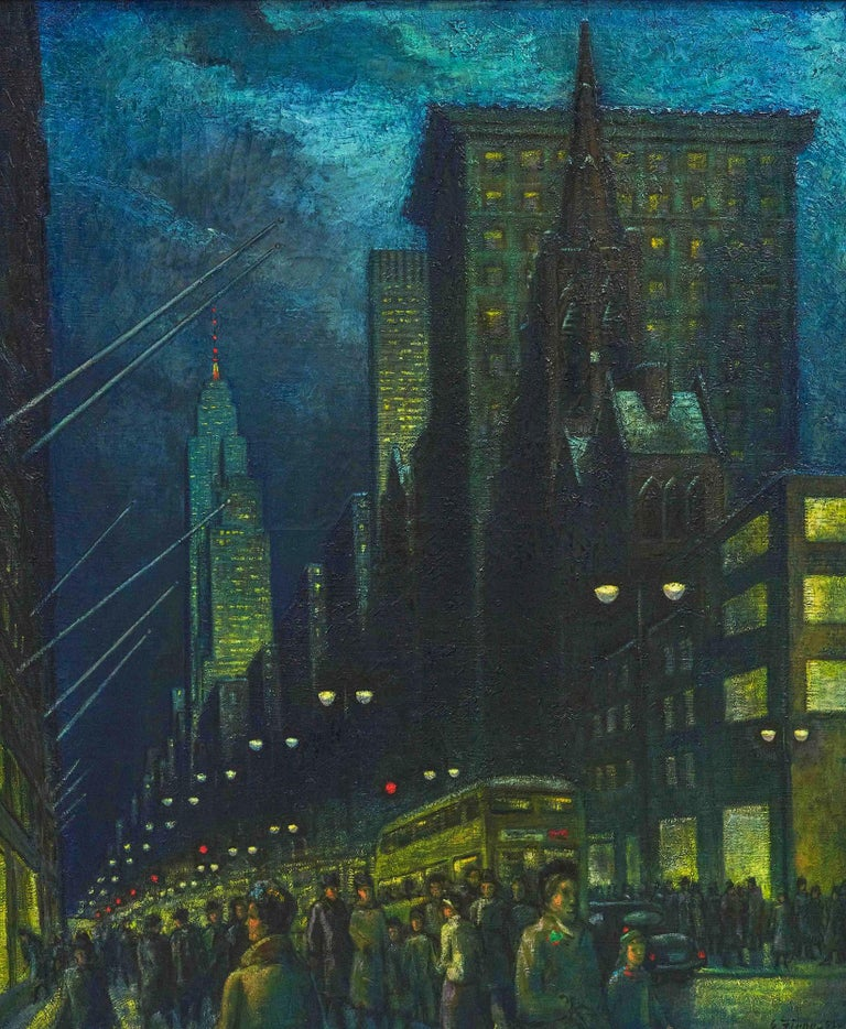 Ernest Fiene Figurative Painting - Winter Evening Fifth Avenue - New York at Night